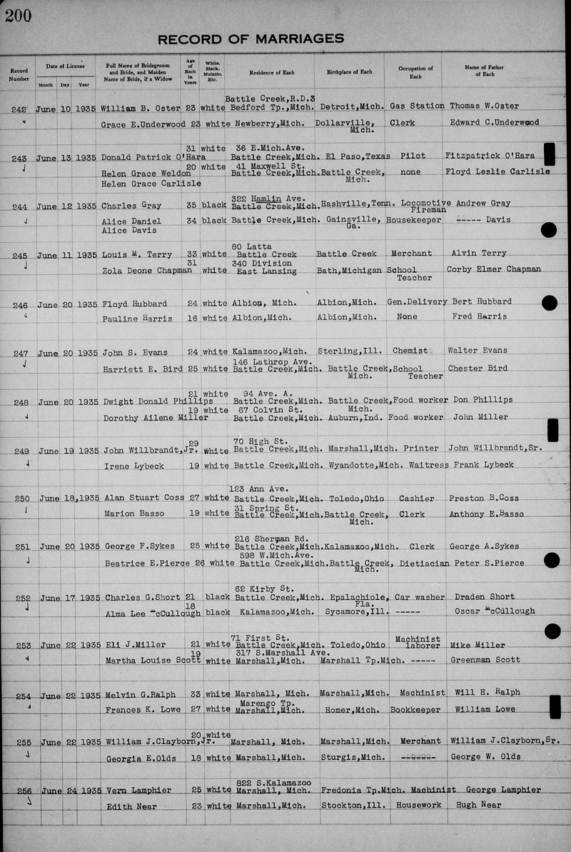 Genealogy data page 237 notes pages