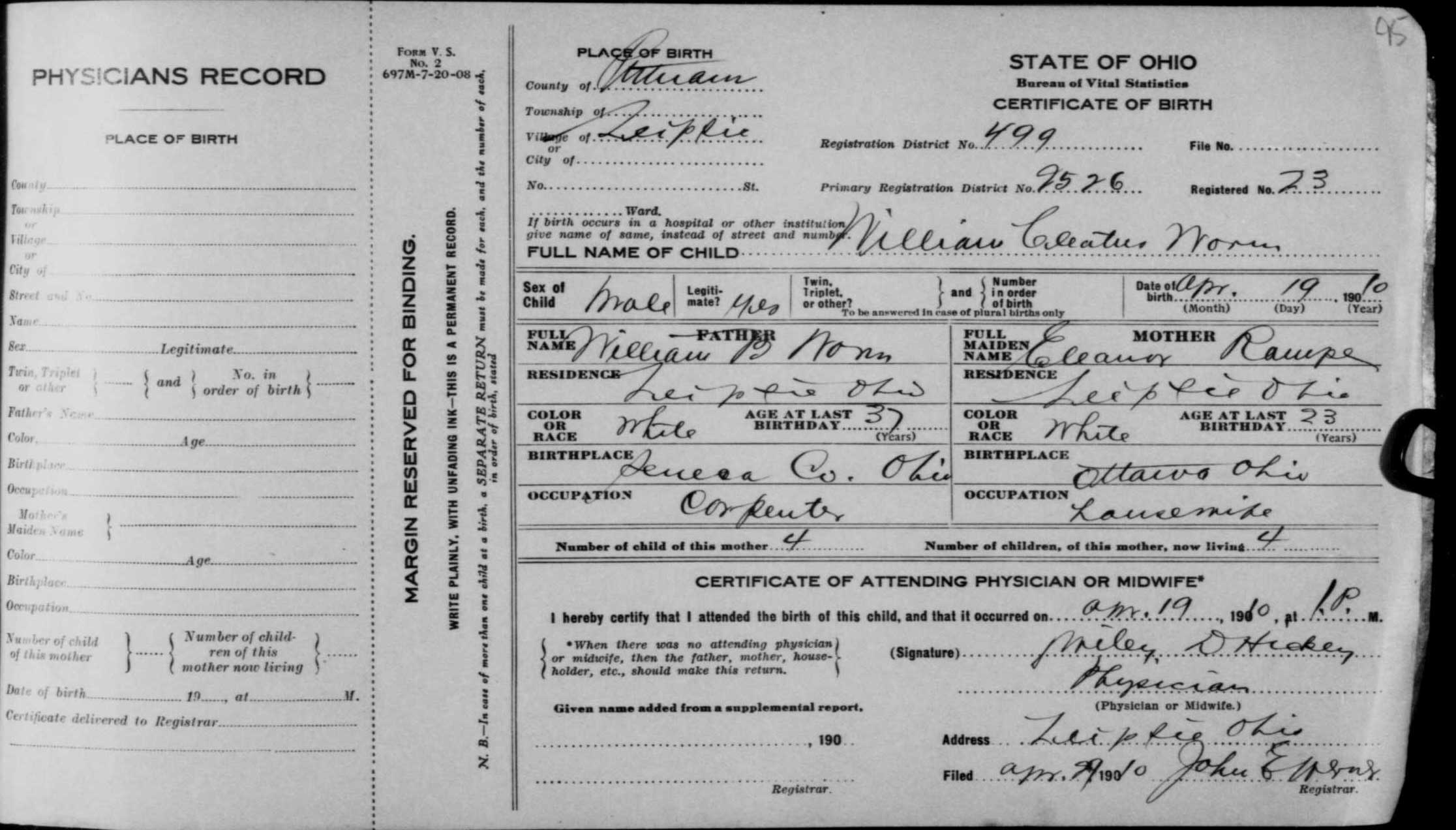 Genealogy data page 61 notes pages birth certificate state of ohio aiddatafo Images